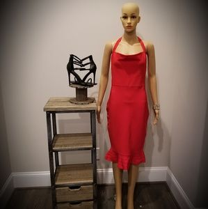 Red Bandage Midi Dress